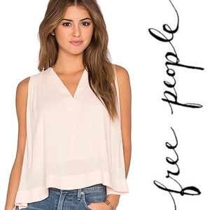 Free People • Darcy Super V Peach Pearl Tank Top M